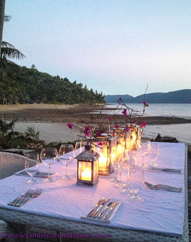 Candle-lit dinner setting Paradise Bay