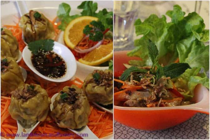 Ampika's Steamed dim sims & Thai beef salad