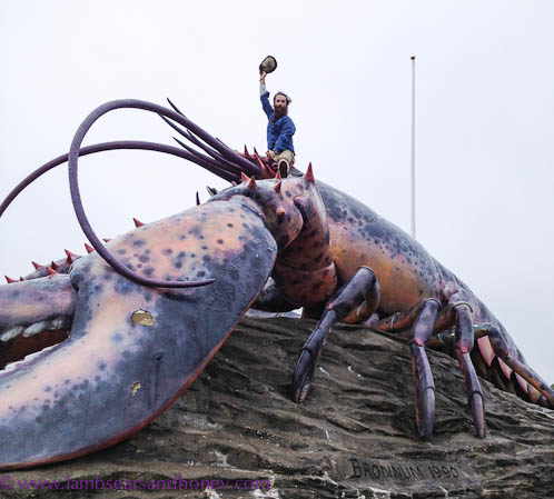 Kris Krug atop giant lobster