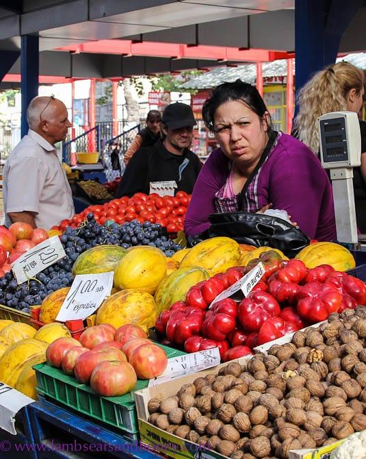 market vendor at the Womens Market, Sofia