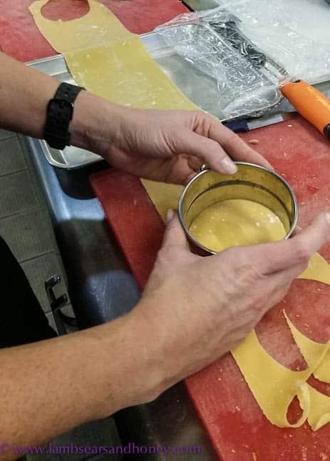 Cutting the Lemon Ricotta Ravioli