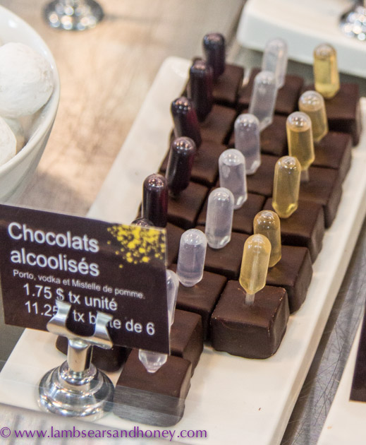 Clever liqueur chocolates at Chocolat Privilège, Monreal.