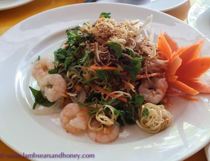 Stunning prawn salad, Mermaid Restaurant, Hoi An, Vietnam.