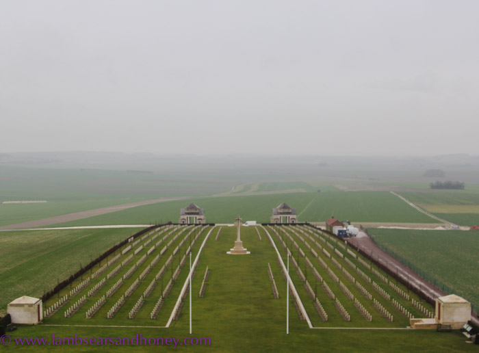 Villers-Bretonneux - view from the top of the tower, back out over the memorial and adjoining now-peaceful farmland.