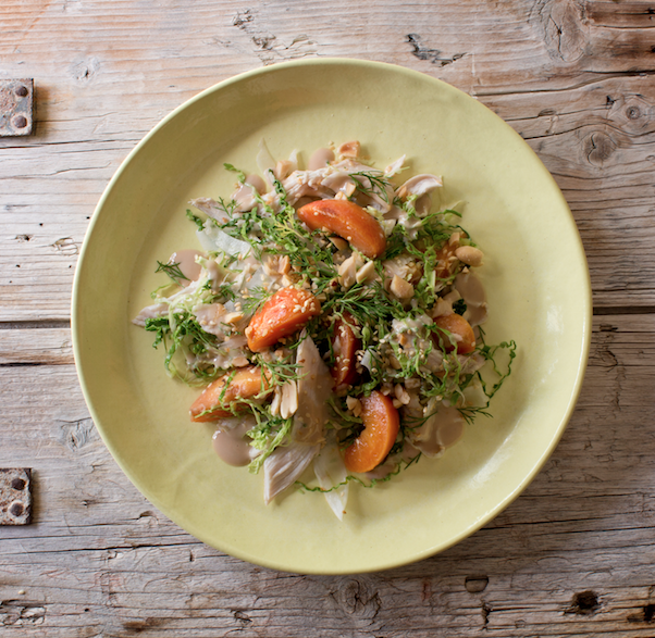 GINGER-POACHED SHREDDED CHICKEN, PEANUT & SESAME SALAD WITH SPICED NECTARINES