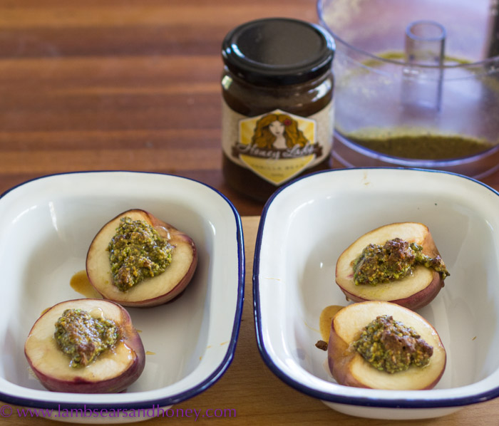 Stuffed, roasted peaches with local honey.