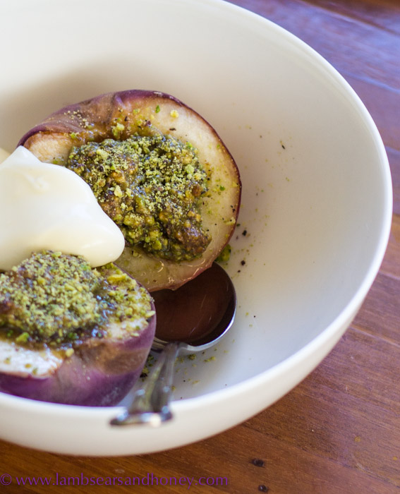 Pistachio Rosewater Roasted Peaches