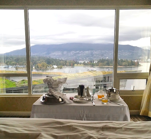 What's not to love about this breakfast view at the Fairmont Waterfront Hotel, Vancouver