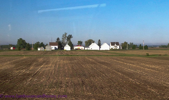 Ploughed fields and farm buildings, from the window of VIA Rail Canada.