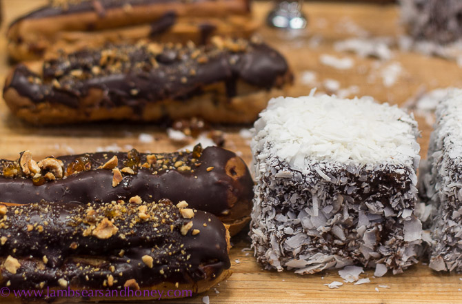 Salted caramel eclairs and pannacotta lamingtons from Flour and Stone - Eveleigh Farmers Market