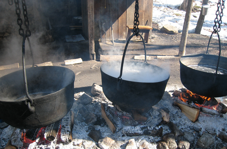 More traditional methods of boiling maple sap in maple syrup production