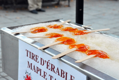 Maple taffy on ice