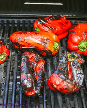 Barbecued charred red peppers for Turkish red pepper paste