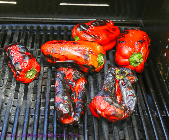 Barbecued charred red peppers
