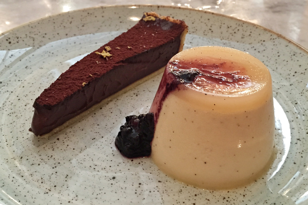 Adelaide lunch Oggi bitter chocolate tart with tobacco panna cotta
