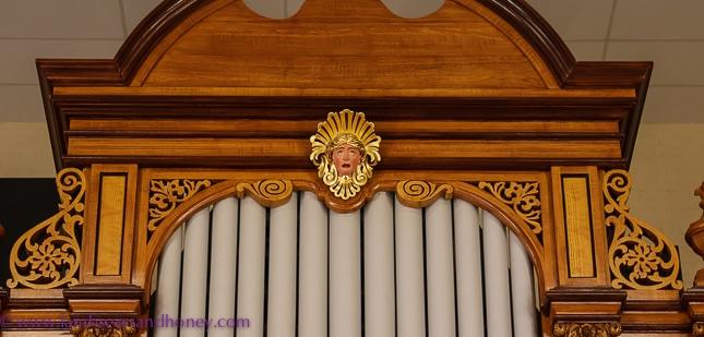 Historical pipe organ ornamental head detail, barossa valley secrets