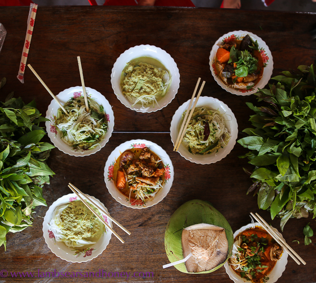 Cambodian food production - delicious noodle dishes