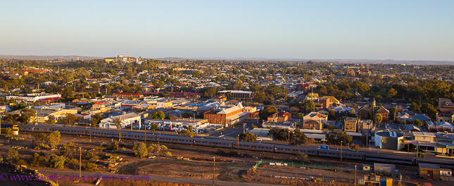 View of indian pacific and Broken hill from miners memorial