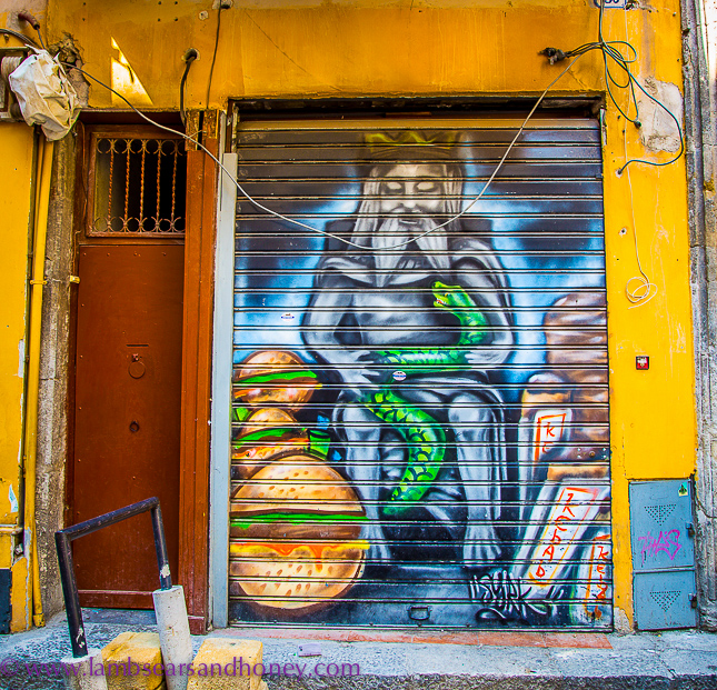 Street art depiction of the genius of garaffo, palermo