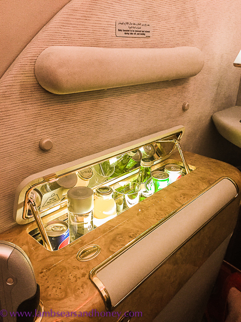 pop up private bar in emirates first class