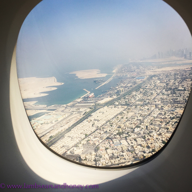 emirates first class view of Dubai