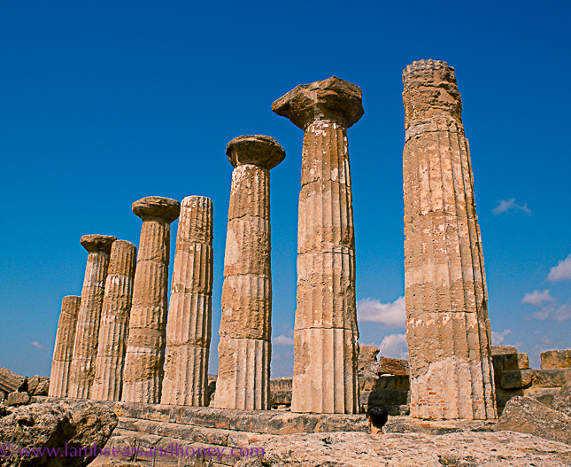 Doric columns, agrigento valley of the temples