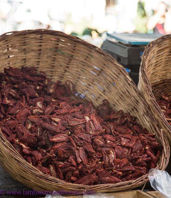 Ortigia market, dried tomatoes