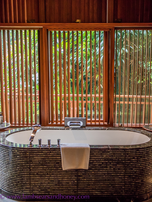 luxury accommodation in bali - bathroom at four seasons Sayan