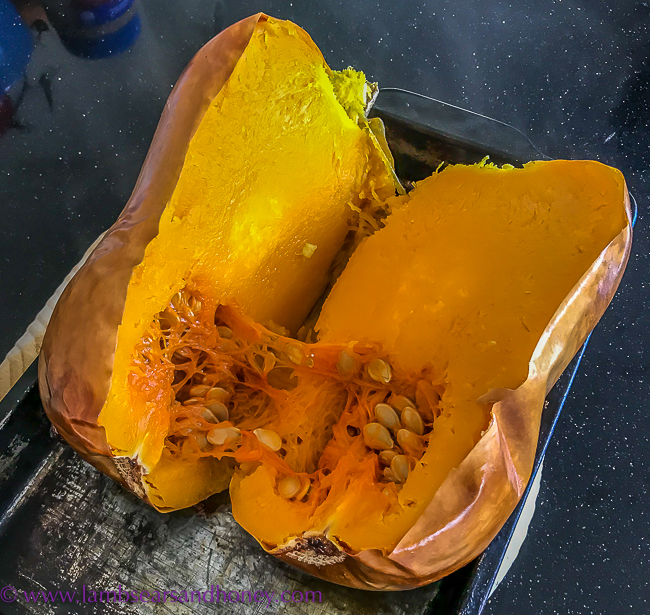 Pumpkin, Sage, Chicken and Spinach Pasta Recipe - whole baked butternut pumpkin