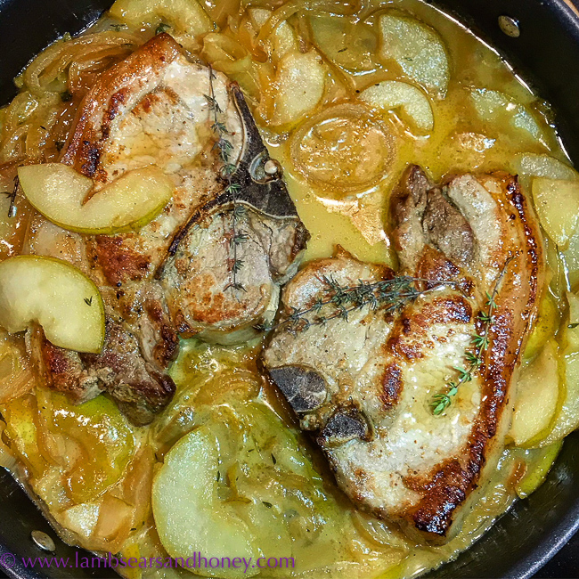 cookbook - Cotelettes de Porc aux Pommes (pork chops with apples, or pears in my case) from In the French Kitchen with Kids