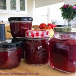 Strawberries in Strawberry and rhubarb jam