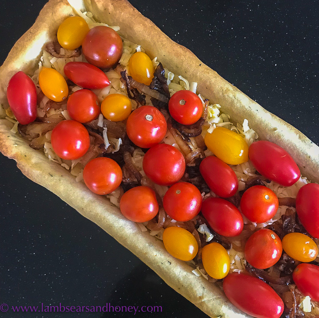 simple cherry tomato and thyme tart