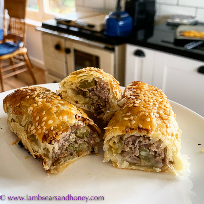 new food books, pork, apple & fennel sausage rolls