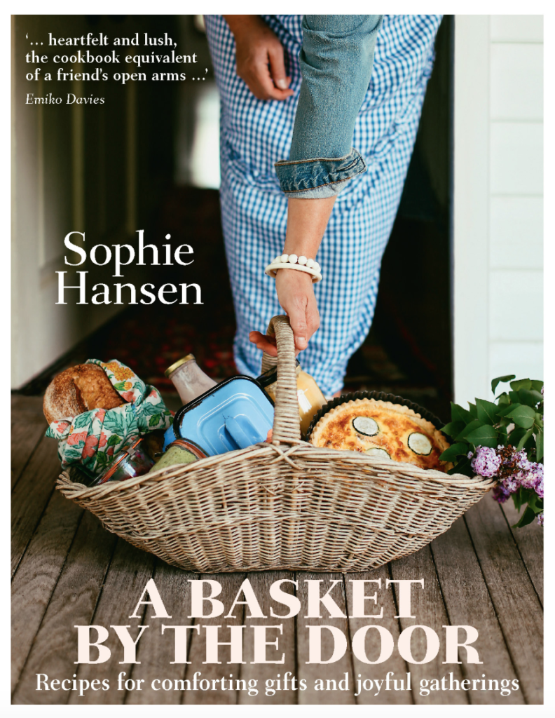 new food books, a basket by the door