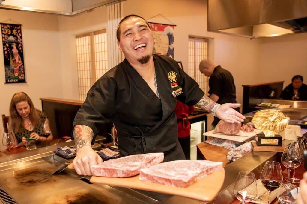 Clark Zhang with Kobe beef