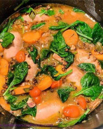 sausage and lentil casserole, comfort food