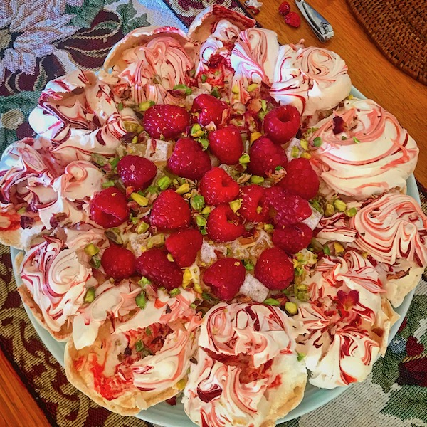 Raspberry, rosewater and pistachio pavlova wreath, more top baking tips