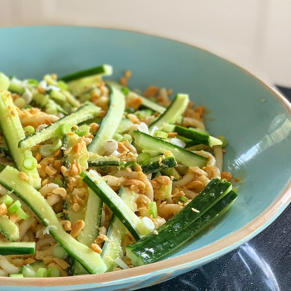 cold peanut butter noodles with cucumber