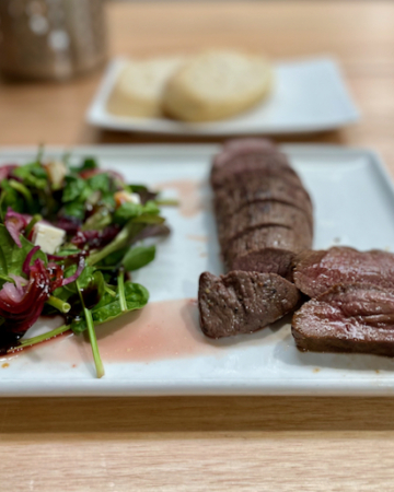 venison and salad, holiday here